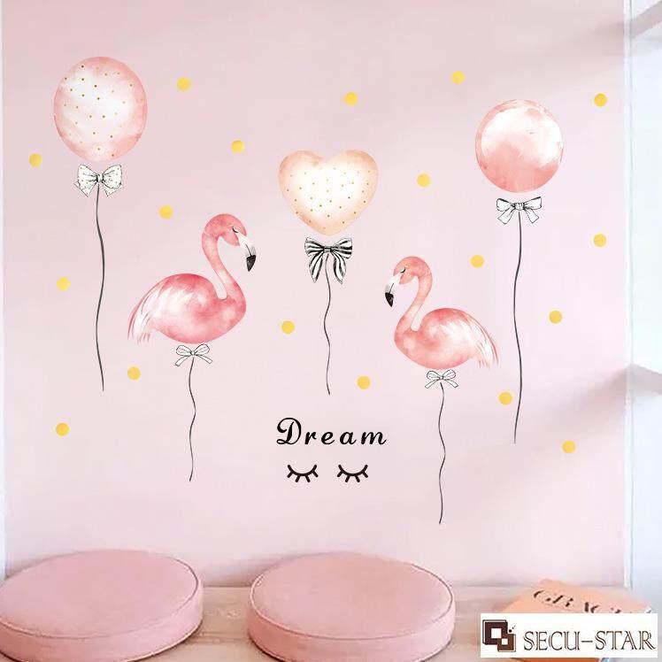 Secu Star Balloon Flamingo Art Decal Wall Sticker Home Decor Adhesive Room Wallpaper 118x94cm Lazada Ph