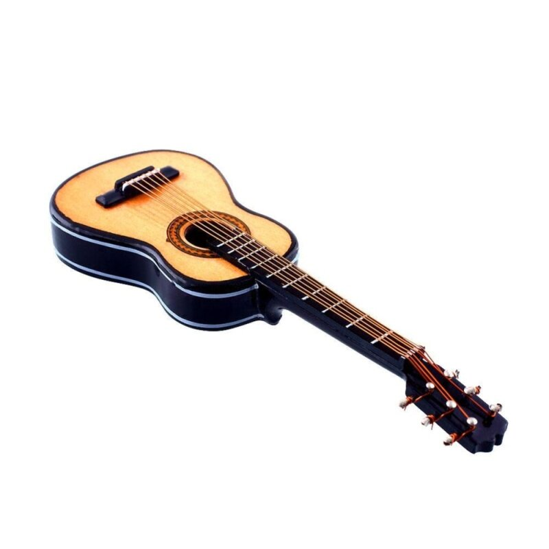 1:12 Mini Acoustic Guitar Wooden Miniature Musical Dollhouse With Case New Malaysia