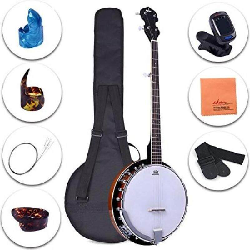 ADM 5-String Banjo 24 Bracket with Closed Solid Wood Back and Geared 5th Tuner, Beginner Pack with Bag, Strap, Picks and Strings Malaysia