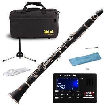 Aklot Bb Clarinet Bakelite Body 17 Brass Nickel Plated Keys withCase Reed for Student Band Music Instrument