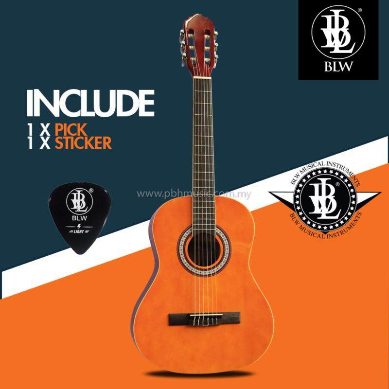BLW 36 inch 3/4 size Nylon Strings Classical Guitar for kids comes with Guitar Pick and BLW Merchandise Sticker (Brown) Malaysia