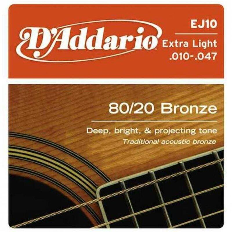 DAddario EJ10 80/20 Bronze Extra Light Acoustic Guitar Strings Package Malaysia