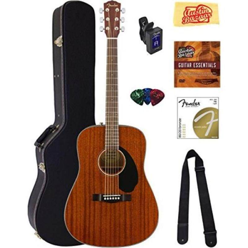 Fender CD-60S Dreadnought Acoustic Guitar - All Mahogany Bundle with Hard Case, Tuner, Strap, Strings, Picks, Instructional DVD, Polishing Cloth Malaysia