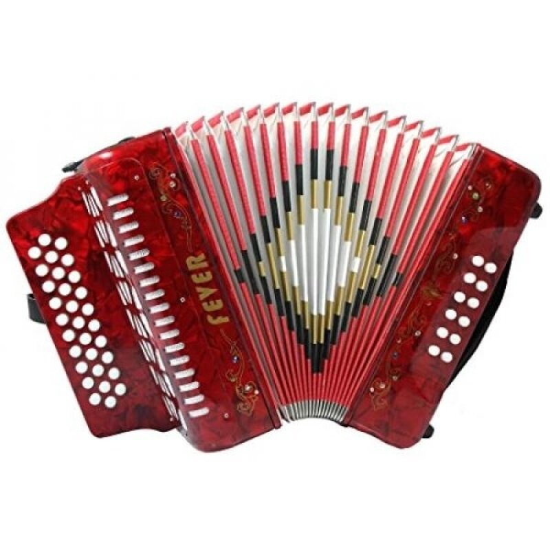 Fever F3112-RD Button Accordion with 31 Keys and 12 Bass on GCF Key, Red Malaysia