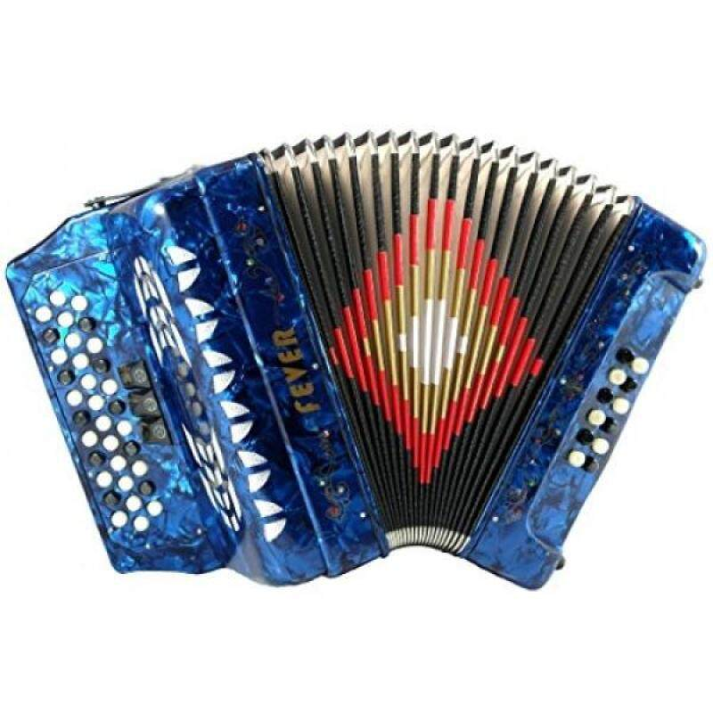 Fever F3412-BL Button Accordion with 34 Keys and 12 Bass on GCF Key, Blue Malaysia