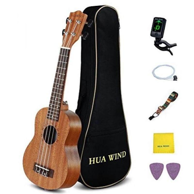 HUAWIND Soprano Ukulele Kit Mahogany Hawaiian Ukulele for Beginners with Gig Bag,Tuners,Strap,Picks, Extra String, Polishing Cloth. Malaysia