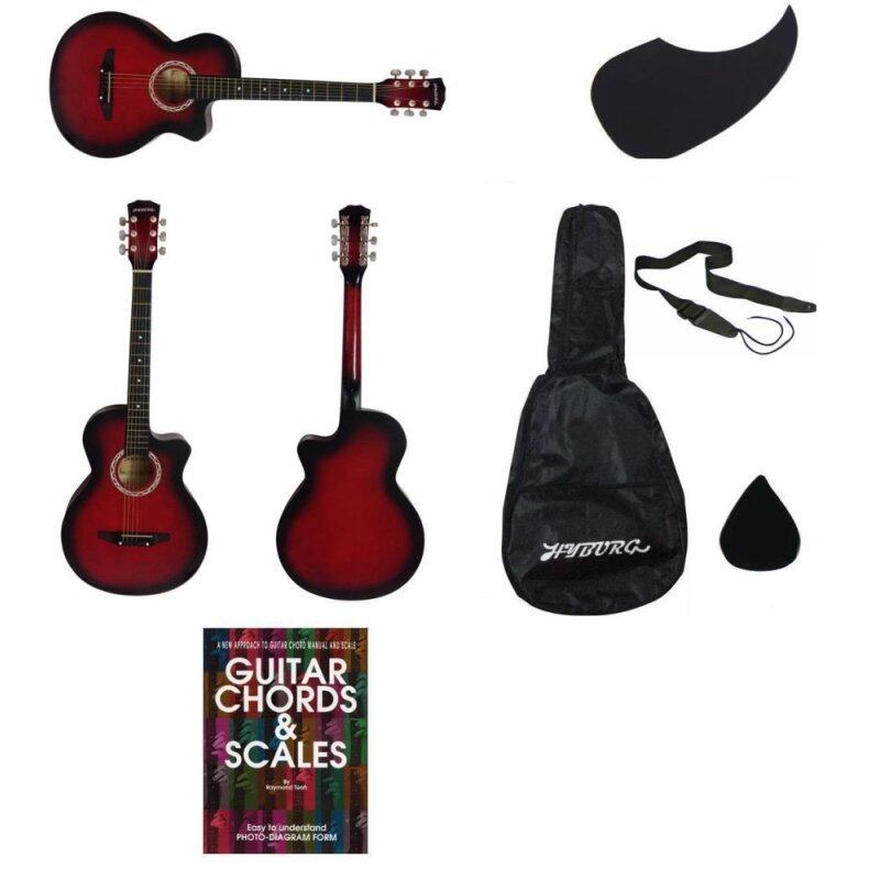 HYBURG Acoustic Guitar 38 Inch(Red)+Bag+Pick+Pickguard+Strap+Book Malaysia