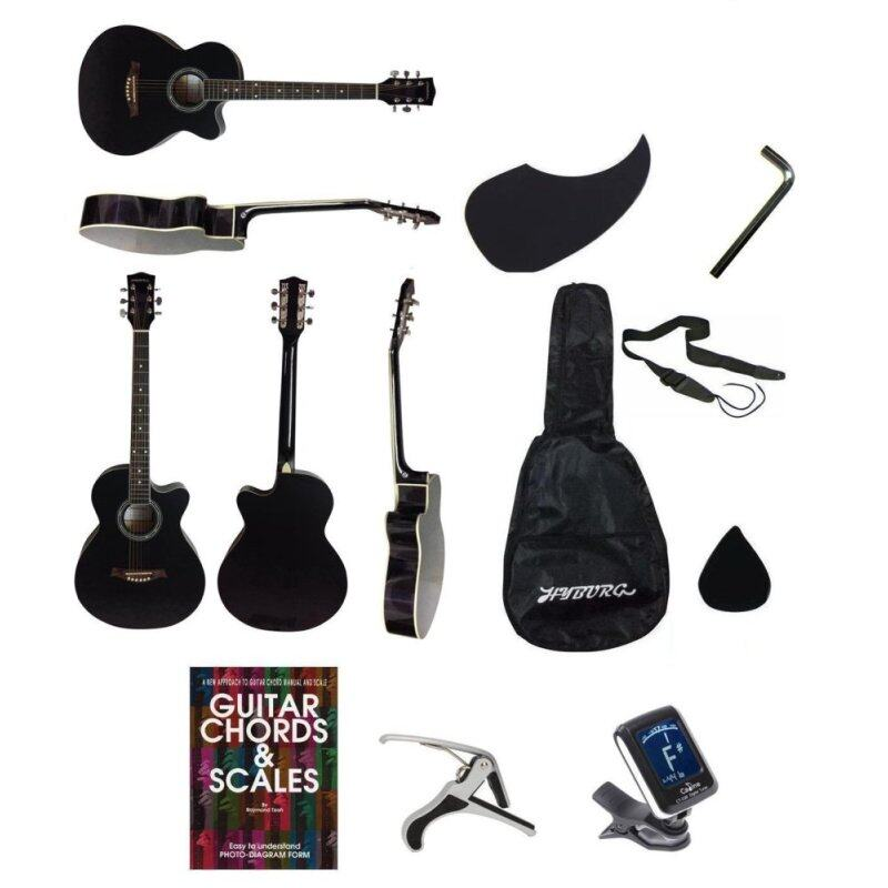 Hyburg Acoustic Guitar 39 Inch(Black)+Bag+Allen Key+Pick+Pickguard+Book+Capo+Tuner+Strap Malaysia