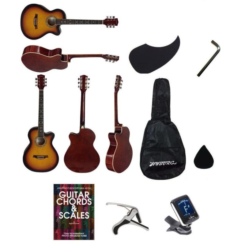 Hyburg Acoustic Guitar 39 Inch(Brown)+Bag+Allen Key+Pick+Pickguard+Book+Capo+Tuner Malaysia