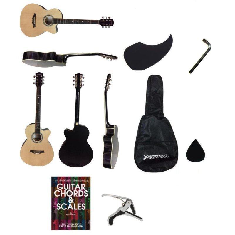 Hyburg Acoustic Guitar 39 Inch(Natural)+Bag+Allen Key+Pick+Pickguard+Book+Capo Malaysia