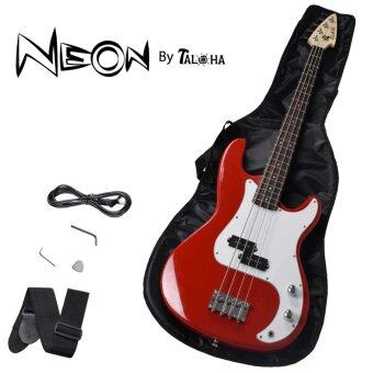 Harga Taloha NEON Electric Bass Guitar (Red) with full set accessories