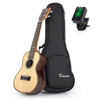 Kmise Concert Ukulele Uke 23 Inch Acoustic Hawaii Guitar SolidSpruce Top Rosewood Wood 18 Fret with Bag Tuner