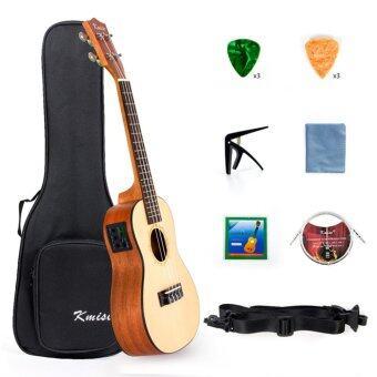 Kmise Electric Ukulele Solid Spruce Concert Ukelele 23 Inch UkeHawaii Guitar with Professional Guitar Cable and FREE Starter Kit