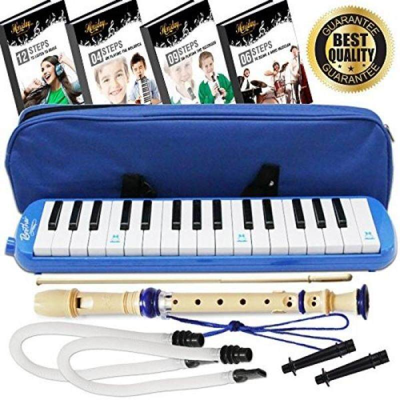 Melodica Keyboard Wind Instrument with Mouthpiece (32-Keys) Beginners Learn to Play Music, Sounds, Songs  Includes Training Ebooks and Soprano Recorder (Blue) Malaysia