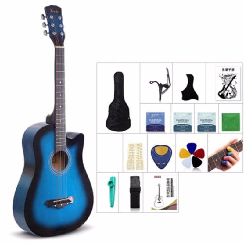 Mimosifolia 38 Inch Beginner Folk Guitar(Burlywood, 96CM, Blue) Malaysia