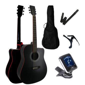 Miracle Acoustic Guitar Cut-Away 41 Inch Folk Guitar FOC non-padded guitar bag+ clip tuner + guitar strap + guitar capo