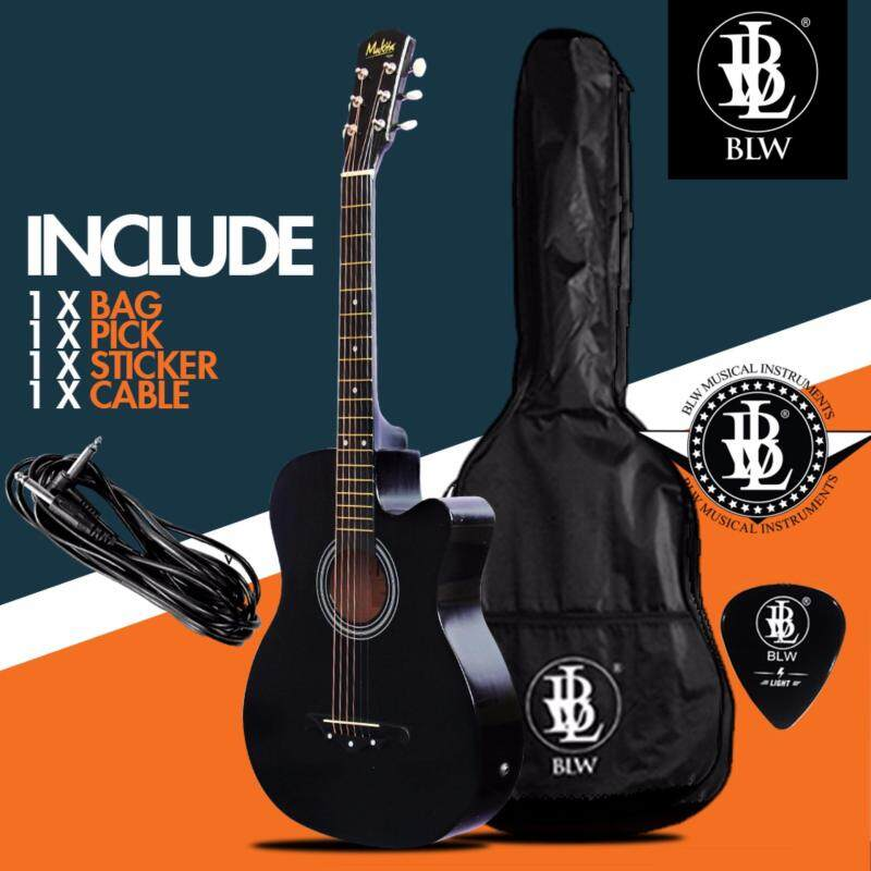 Mukita by BLW Standard 38 Inch Semi Acoustic Electric 2 Equalizer Pre amp Folk Guitar with Bag, Pick, Cable and Merchandise Sticker (Black) Malaysia