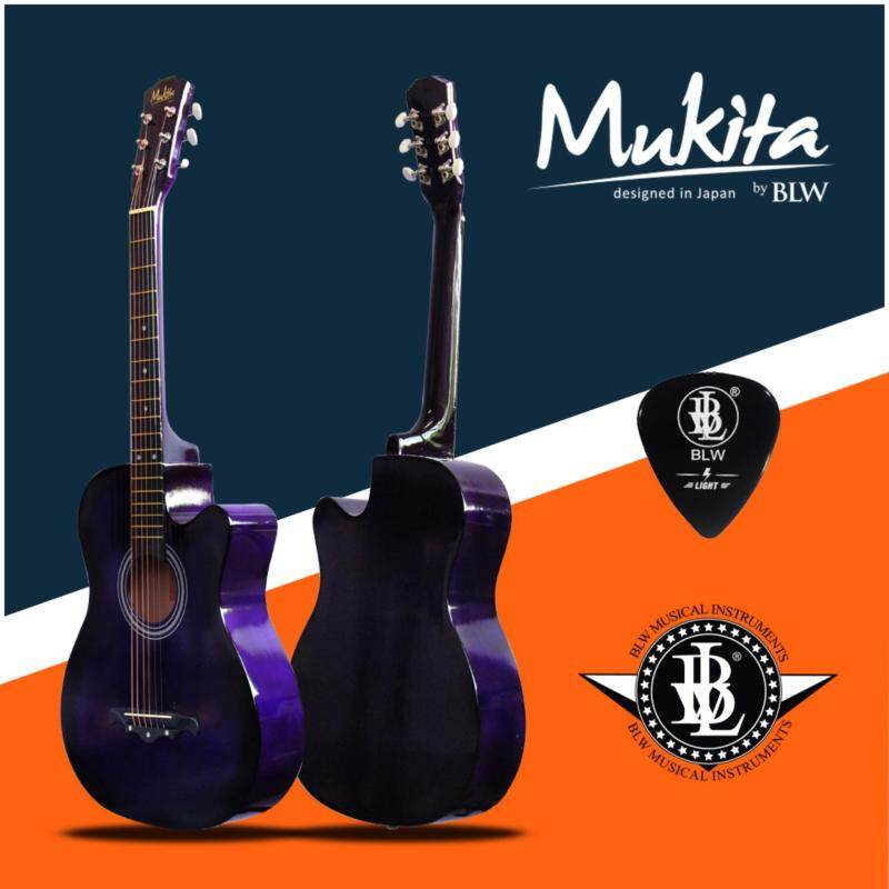 Mukita by BLW Standard Acoustic Folk Cutaway Basic Guitar 38 Inch for Beginners Comes with Guitar pick and BLW Merchandise Sticker (Purple) Malaysia