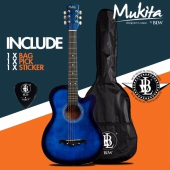 Mukita by BLW Standard Acoustic Folk Cutaway Basic Guitar Package 38 Inch for beginners with Bag, Pick and Merchandise Sticker (Blue)