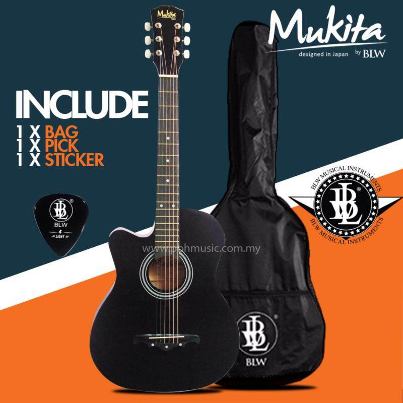 Mukita by BLW Standard Left Handed Acoustic Folk Cutaway Basic Guitar Package 38 Inch for beginners with Bag, Pick and Merchandise Sticker (Black) Malaysia