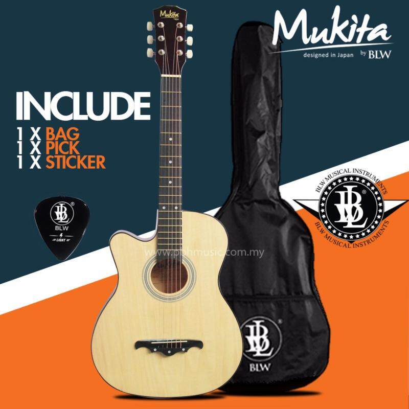 Mukita by BLW Standard Left Handed Acoustic Folk Cutaway Basic Guitar Package 38 Inch for beginners with Bag, Pick and Merchandise Sticker (Natural) Malaysia