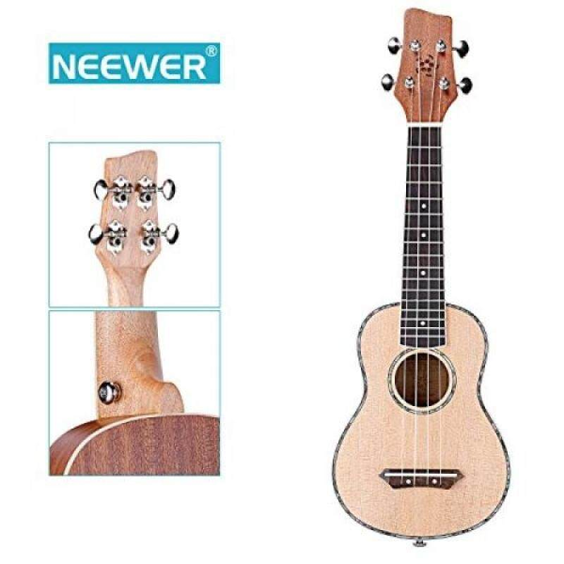 Neewer 21-Inch Matte Finished Sapele & Agathis Soprano Ukulele 4 Strings with Rosewood Fingerboard and Bridge, Buffalo Bone Nut and Saddle, White Binding Malaysia