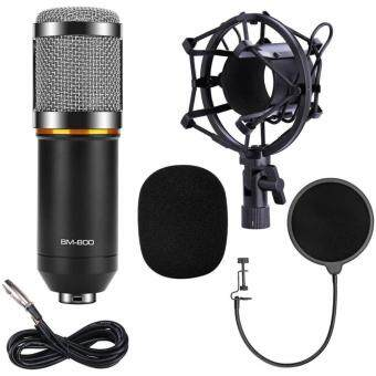 Harga Professional Sound Studio Dynamic Mic + Shock Mount BM800 Condenser Microphone(black+silver)