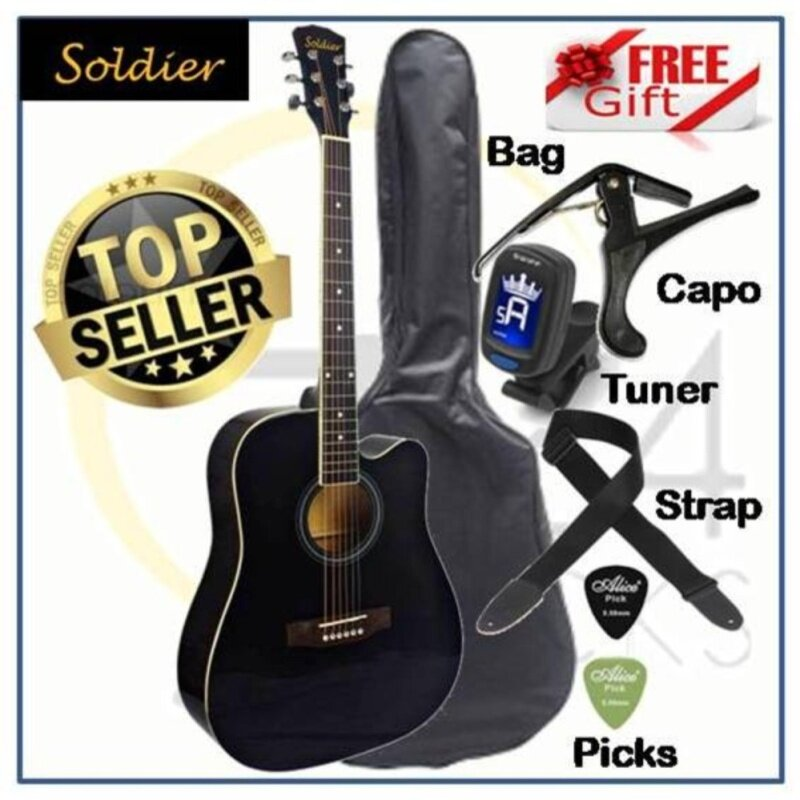 Soldier Standard Size 41 Inch Dreadnought Cut-Away Acoustic Guitar S4111 FREE Bag, Tuner, Capo, Strap & Picks Malaysia