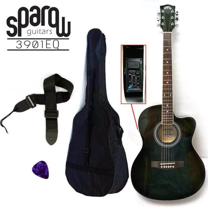 Sparow 39 inch Acoustic Guitar with 3 band EQ colour Shadow Black (FOC Non Padded Bag, Pick & Strap) Malaysia