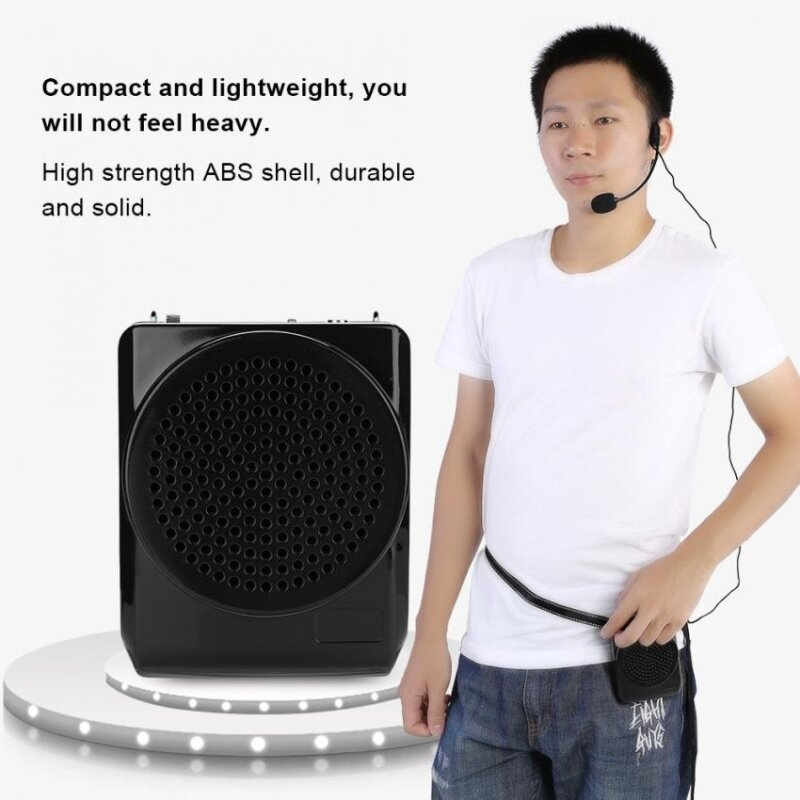 Sweatbuy Portable Rechargeable Voice Loud Booster Amplifier Microphone Teaching Speaker w/ Waistband UK Malaysia
