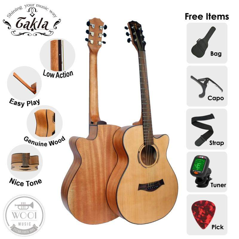 Takla M120 Acoustic Guitar 40 Package B ( FREE Bag, Picks, Strap, Tuner & Capo) (Grand Concert) Malaysia