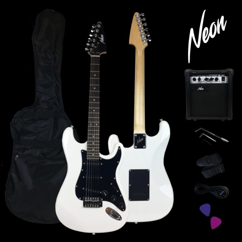 Taloha NEON Jumpstart Electric Guitar Package (White) with guitar amplifier and full set accessories Malaysia