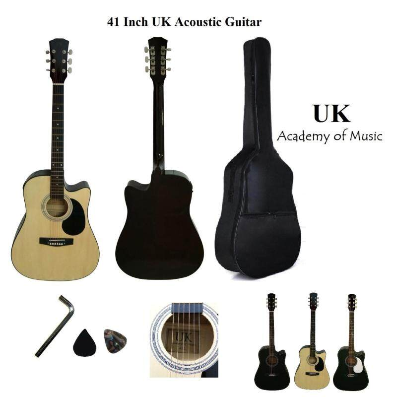 UK 41 Inch Acoustic Guitar with Pickguard+Bag+Allen Key+2 Picks(Natural) Malaysia