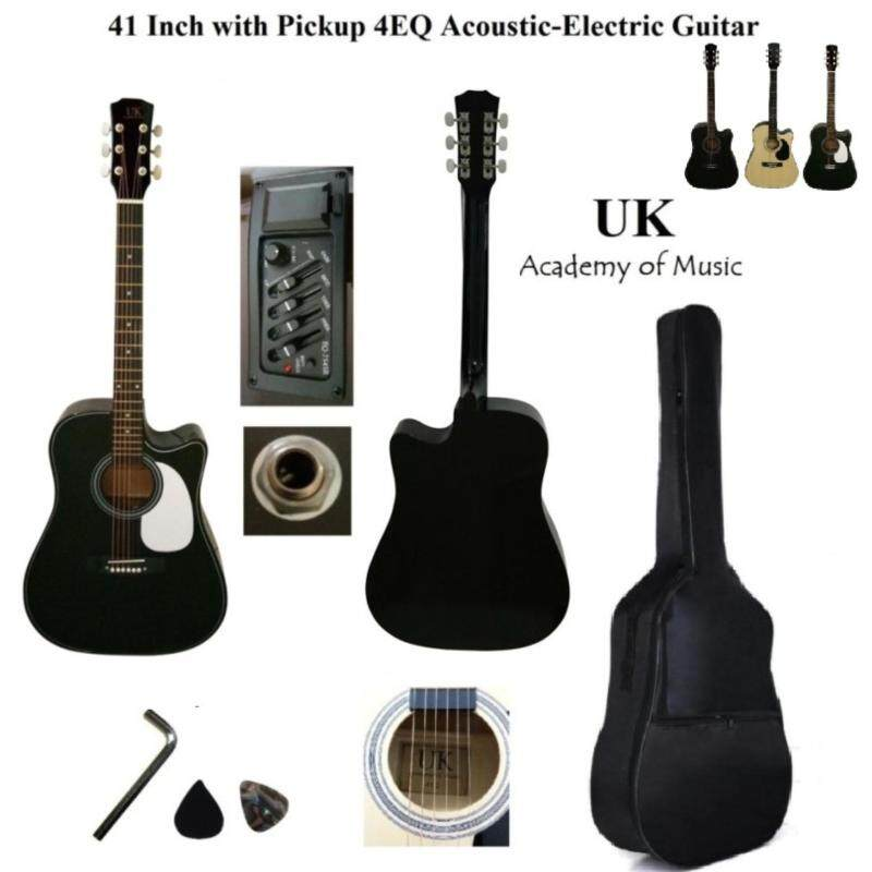UK 41 Inch Pickup/Plugin Acoustic-Electric Guitar with 4EQ and Pickguard+Bag+Allen Key+2 Picks Malaysia