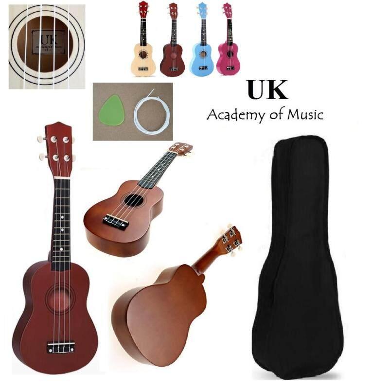 UK Ukulele Professional Wood Soprano 21 Inch With Free Ukulele Bag, Extra One Ukulele String and Ukulele Pick (Brown) Malaysia