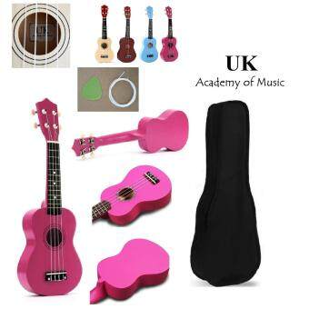 UK Ukulele Professional Wood Soprano 21 Inch With Free Ukulele Bag, Extra One Ukulele String and Ukulele Pick (Pink)