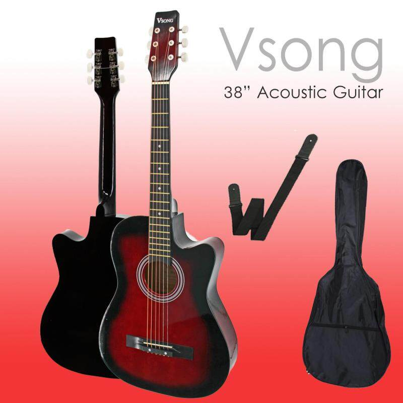 VSong 38 Student Acoustic Guitar Starter Package, Guitar, Gig Bag & Strap Malaysia