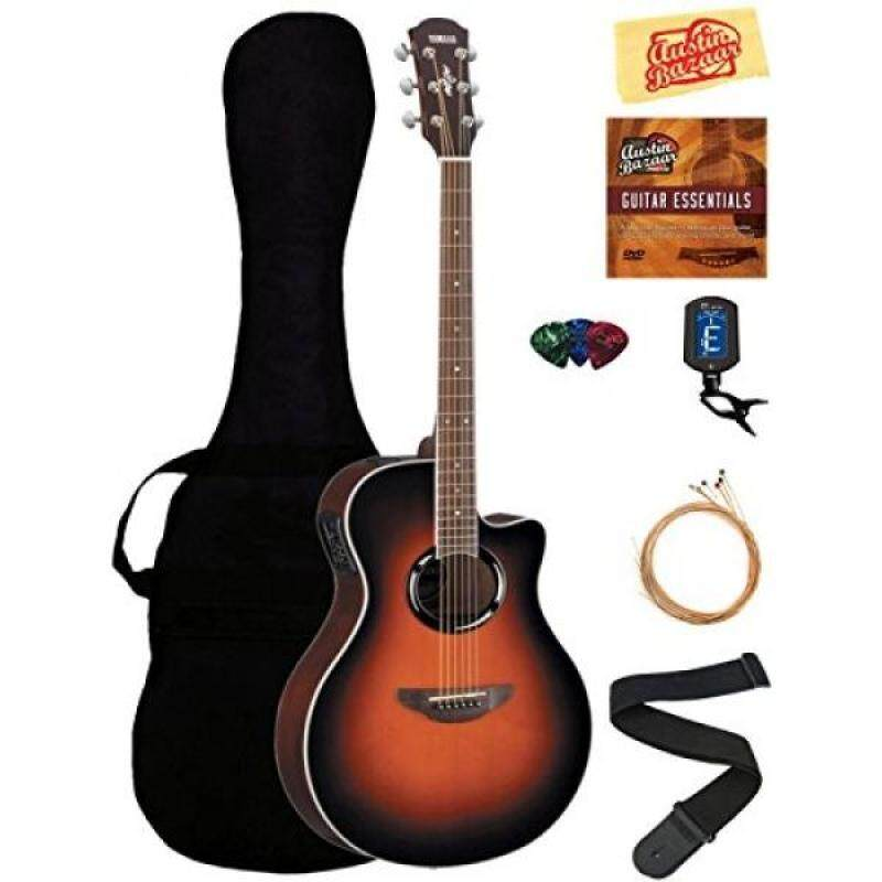 Yamaha APX500III Thinline Cutaway Acoustic-Electric Guitar Bundle with Gig Bag, Tuner, Instructional DVD, Strings, Pick Card, and Austin Bazaar Polishing Cloth - Vintage Sunburst Malaysia