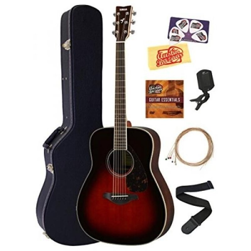 Yamaha FG830 Acoustic Guitar Bundle with Hard Case, Tuner, Strap, Strings, Austin Bazaar Instructional DVD, Picks, and Polishing Cloth - Tobacco Sunburst Malaysia