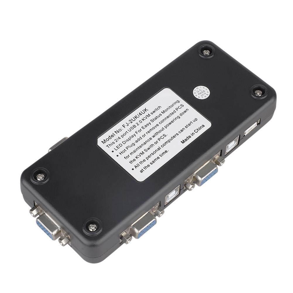 4 Cables for PC Keyboard Mouse USB 2.0 4 Port Monitor SVGA VGA KVM Switch Box