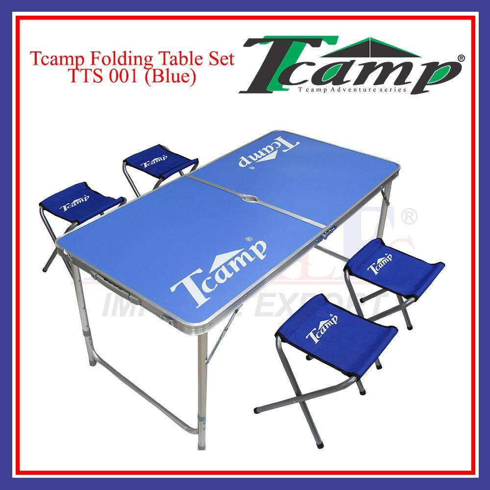 Phenomenal Tcamp Portable Foldable Aluminium Table Set With 4 Chair Outdoor Fishing Camping Picnic Blue Download Free Architecture Designs Scobabritishbridgeorg
