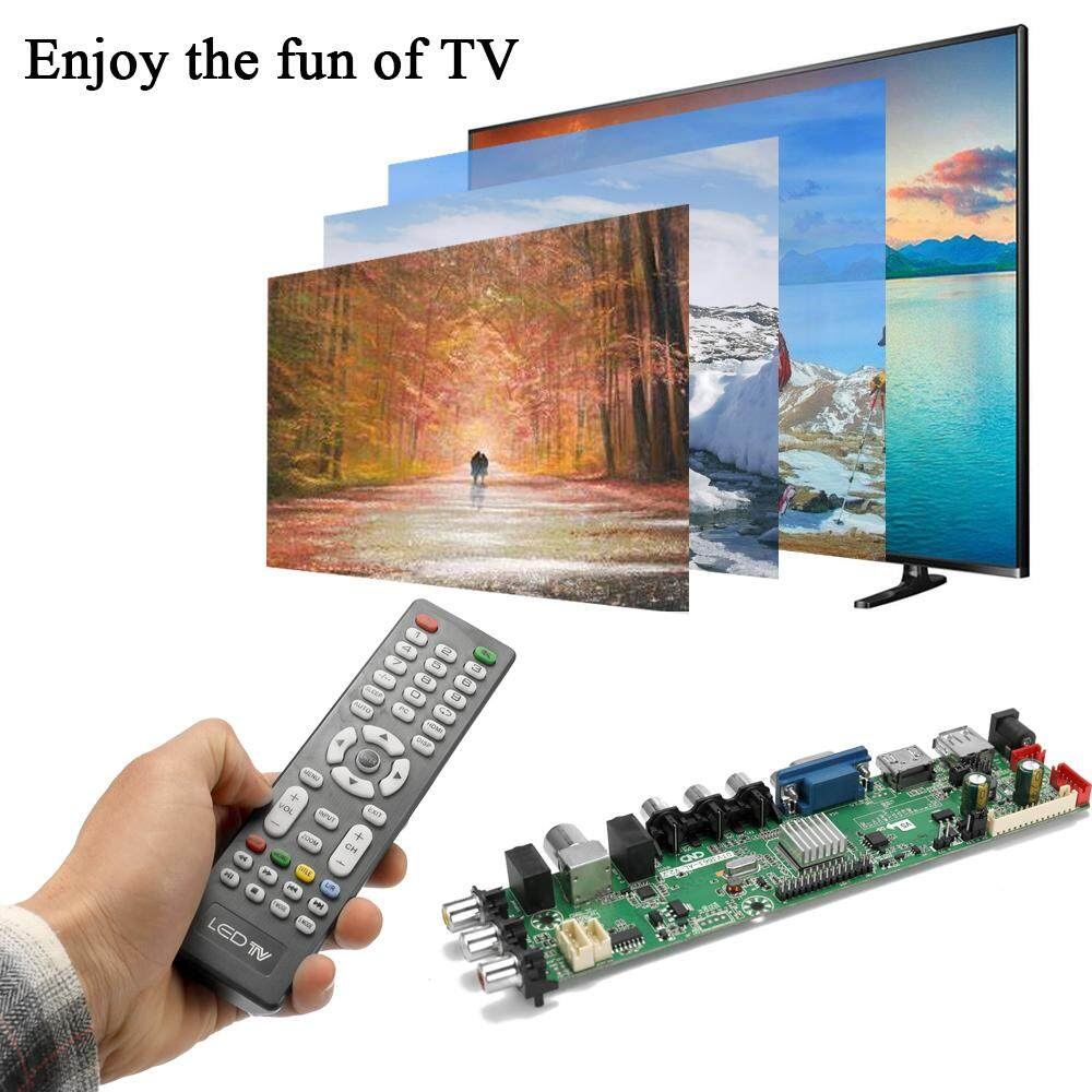 DTV3663-AS V2 0 Digital TV Board DVB-T2 Universal LCD LED TV Controller  Driver Board with Cable Inverter