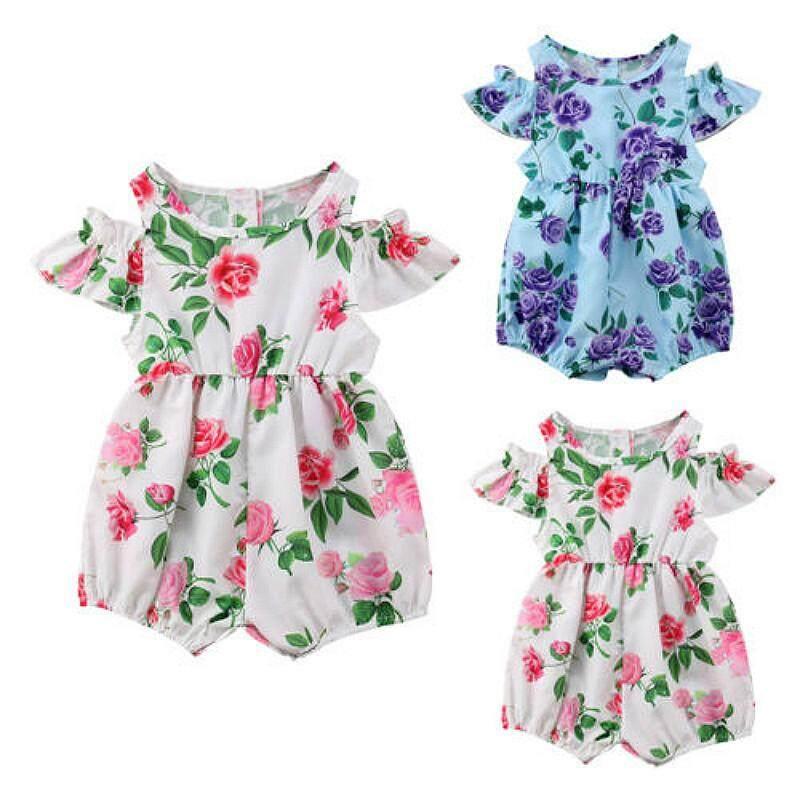 Toddler Kids Baby Girl Off The Shoulder Dress Romper Jumpsuit Playsuit Sunsuit