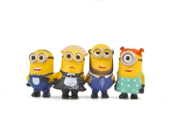 8pcs//lot Minion Miniature Figurines Toys Cute Lovely Model Kids Toys 5.5cm PVC