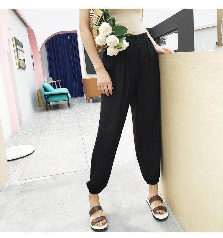48d3b2350 Specifications of 2019 Korean Women Lady Girls Fashion Thin Silk Bloomers  Pants Summer Cooling Harem Trousers Loose Casual Beach Bottoms