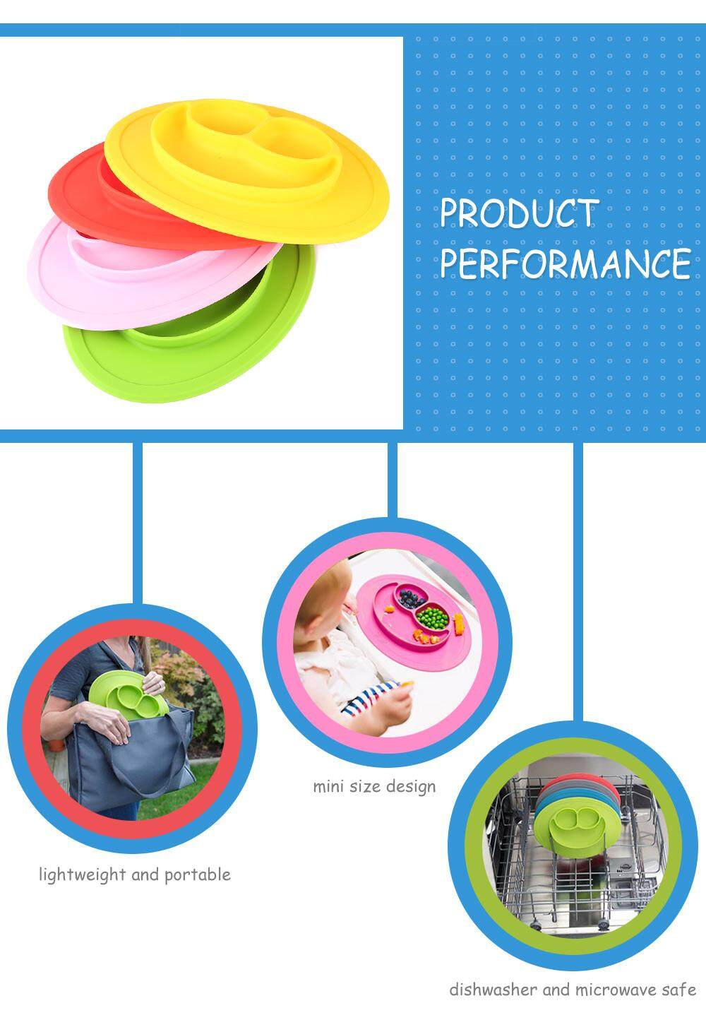 Multipurpose Non-slip Silicone Placement Plate Smile Face Shaped Mold Tray