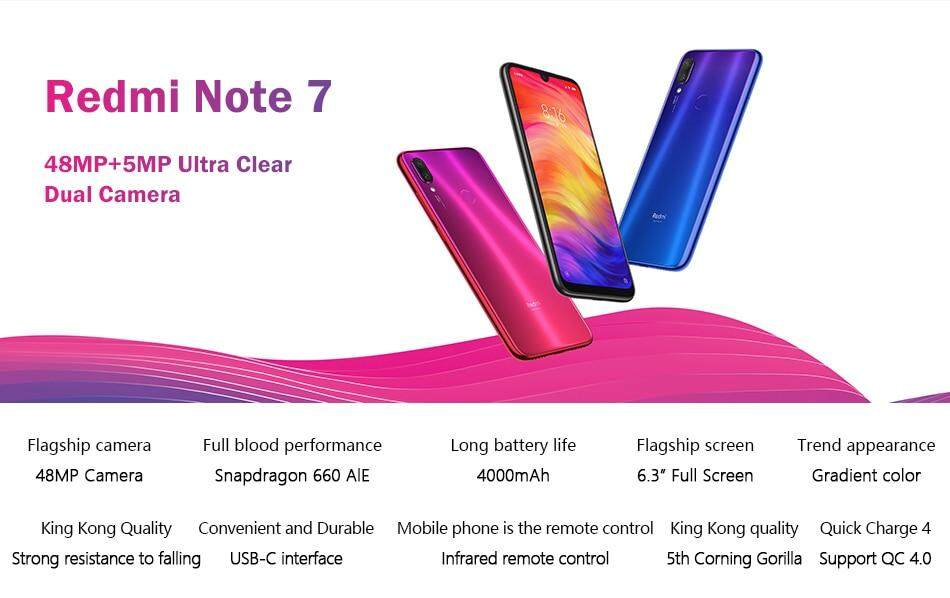 Global Version Xiaomi Redmi Note 7 (3GB 32GB / 4GB 64GB / 4GB 128GB) Mobile  Phones