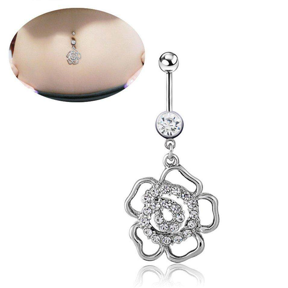 Hot Sales Q00793 Diamond Rose Belly Buttonbelly Button Rings Navel Piercing Jewellery