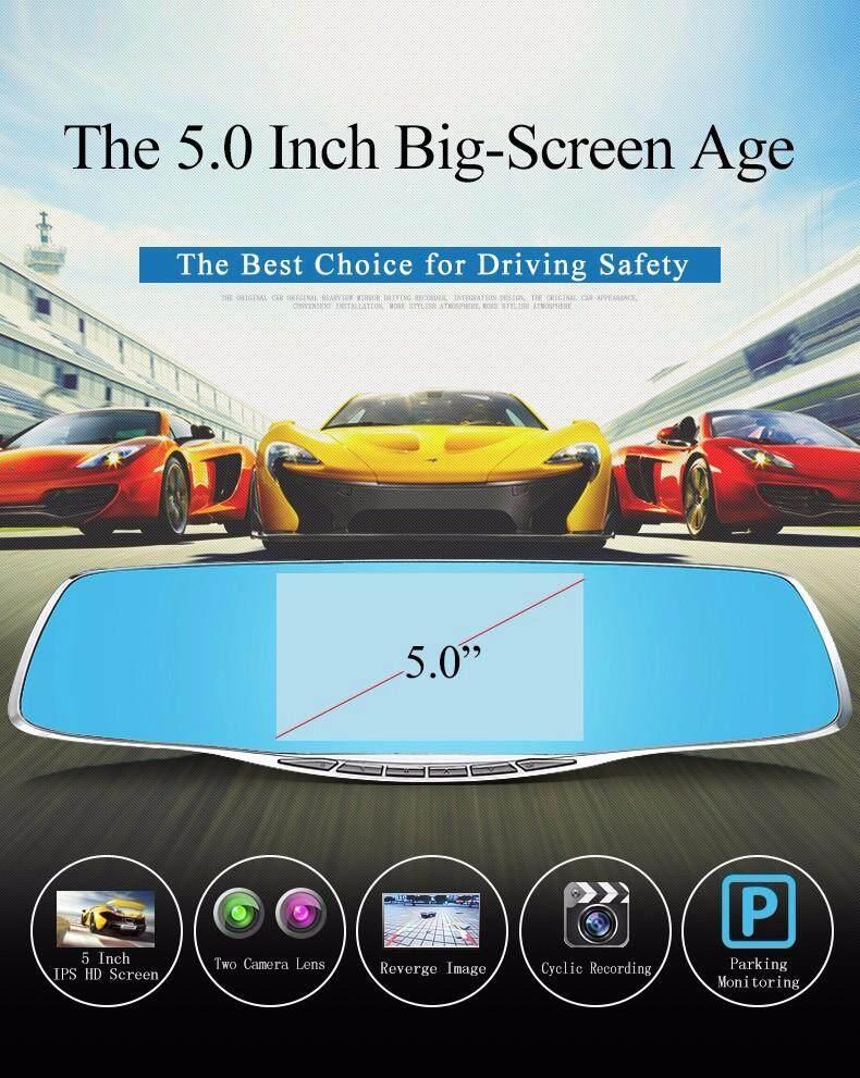 NIA Car DVR Dash Cam Full HD 1080P 5 Inch IPS Dual Lens Rear View Mirror  Camcorder Auto Video Registrator Camera Dvr Recorder(GOLD)