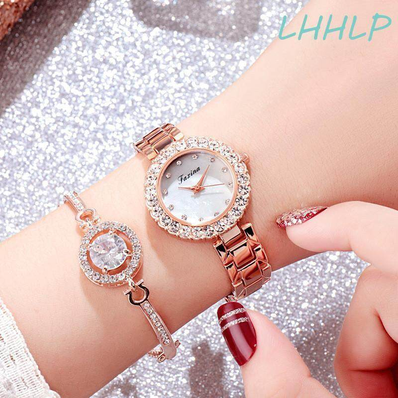 With Nice Watch Box Bracelet Faxina 15522 Watch For Women Fashion High End Simple Luxury Rhinestone Diamond Dial Stainless Steel Strap Quartz Ladies